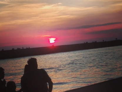 zachód słońca molo Ustka